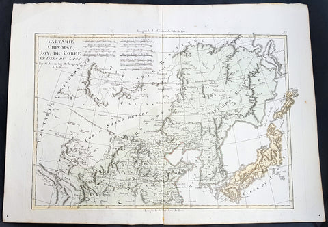 1780 Rigobert Bonne Antique Map of Northern China, Mongolia, Korea Japan Tartary