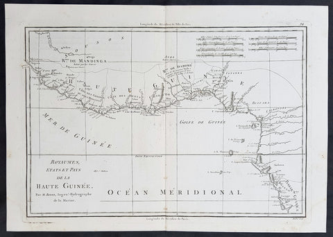 1780 Rigobert Bonne Original Antique Map Gulf of Guinea, Africa Liberia to Gabon