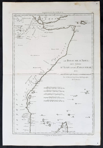 1780 Rigobert Bonne Original Antique Map Horn of Africa - Somalia to Tanzania