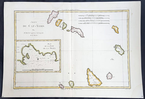 1780 Rigobert Bonne Antique Map of the Cape Verde Islands & Plan of Praia