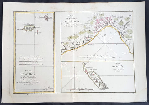 1780 Rigobert Bonne Antique Map Madeira, Porto Santo - Slave Is. Goree Senegal