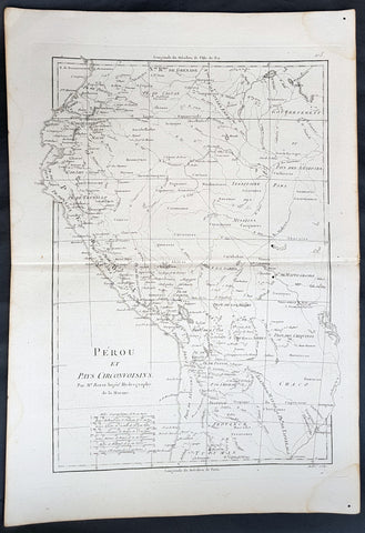 1780 Rigobert Bonne Antique Map of West South America Peru & The Amazon River