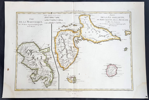 1780 Rigobert Bonne Antique Map of Caribbean Islands of Guadeloupe & Martinique
