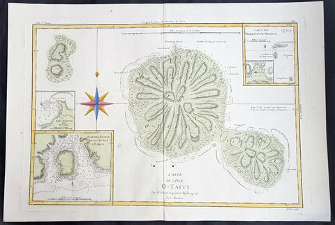 1780 Rigobert Bonne Large Antique Map of Tahiti