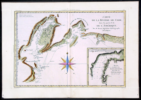 1780 Bonne Cook Antique Map Prince William Sound Alaska