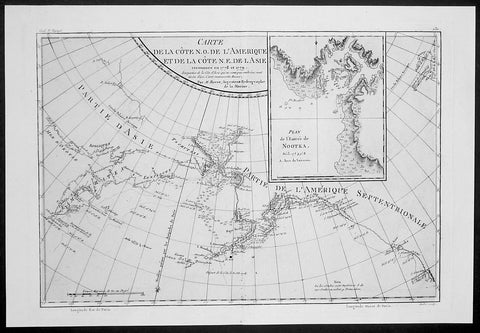 1780 Bonne Cook Antique Map Alaska, Canada, Siberia Bering Straits North America