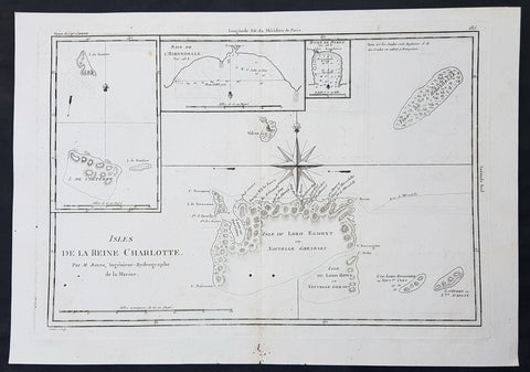1780 Bonne Original Antique Map of Santa Cruz Isles, Solomon Islands Sth Pacific Lord Howe, Nendo