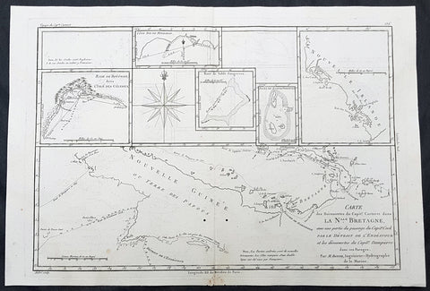 1780 Rigobert Bonne Antique Map of New Guinea, William Dampier 1699 - 5 Harbours