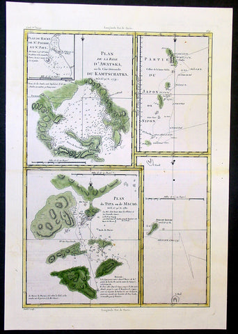 1780 Bonne Cook Antique Maps of Russia, Japan, Macao China, Alaska