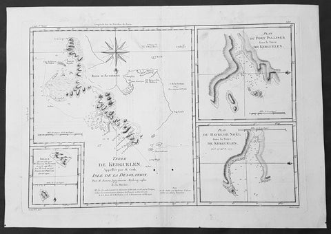 1780 Bonne Original Antique Map of Kerguelen, Desolation Island South Indian Ocean