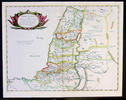 1650 Sanson Large Antique Map of the Holy Land - 12 Tribes of Israel