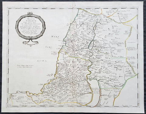 1651 Nicolas Sanson Large Antique Map of Holy Land Judea during Herodian Dynasty