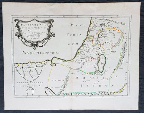 1640 Nicolas Sanson Antique Map of The Holy Land, Egypt, Saudi - Knights Templar