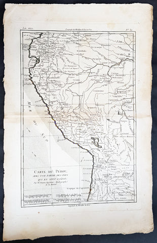 1780 Rigobert Bonne Original Antique Map of Peru, South America