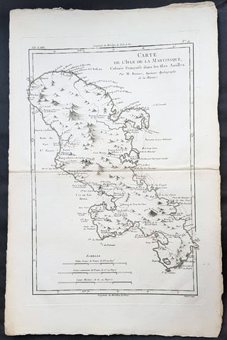 1780 Rigobert Bonne Antique Map of Caribbean Island of Martinique