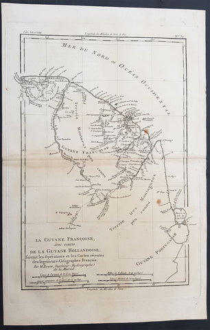 1780 Bonne Antique Map of French & Dutch Guyana, South America