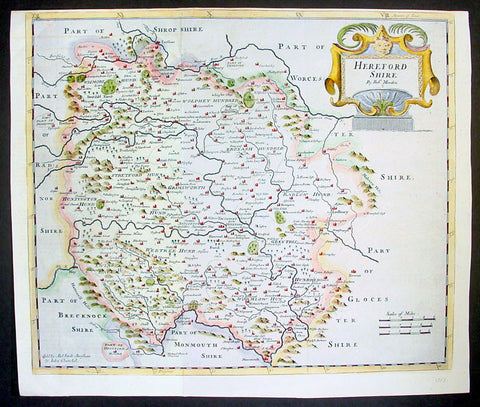 1695 Rob. Morden Antique Map English County of Hereford