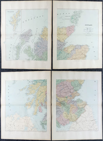 1895 Edward Stanford Very Large 4 Sheet Map of Scotland - w/ Reference Map