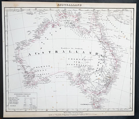 1845 Handtke & Flemming Large Antique Map of Australia - Population of 213,500