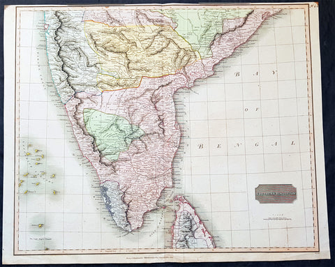 1816 Thomson Large Old, Antique Map Southern India & Sri lanka