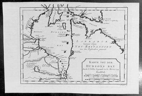 1744 Nicolas Bellin Original Antique Map of Hudsons Bay & Surrounds, Canada