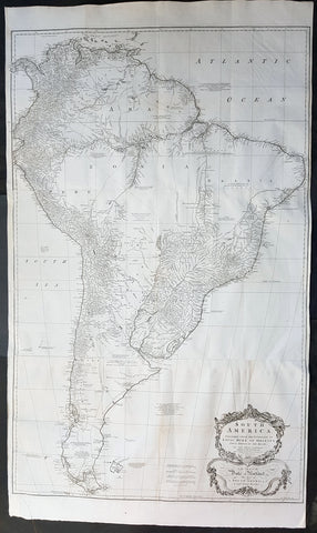 1755 Kitchin & Boulton Large Original Antique Map of South America