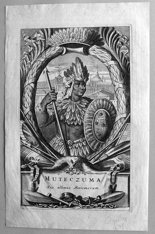 1671 Ogilby Large Antique Print of Moctezuma Last Emperor of the Aztec's, Mexico