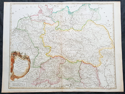 1757 Robert De Vaugondy Large Antique Map of Germania, Germany During Roman Era