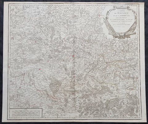 1757 Robert De Vaugondy Large Antique Map The County of Hainaut Belgium & France