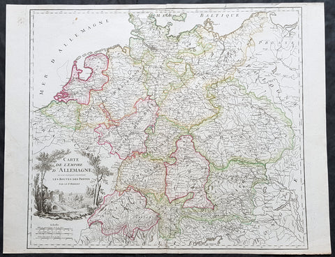 1757 De Vaugondy Large Antique Map of Europe Postal Roads from Poland to Holland