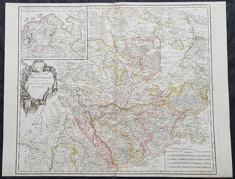 1757 Robert De Vaugondy Large Antique Map of The State of Westphalia, Germany