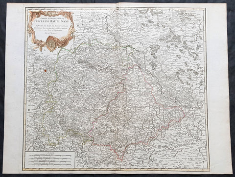 1757 De Vaugondy Large, Old, Antique Map of North Saxon Region, Meissen District