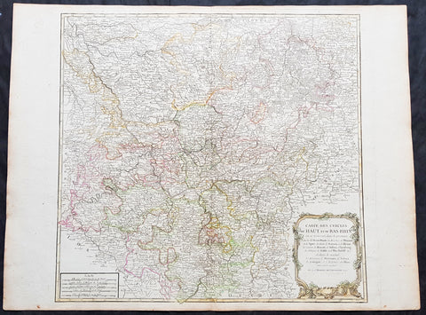 1757 Robert De Vaugondy Large Antique Map of North Rhine-Westphalia Bonn Cologne