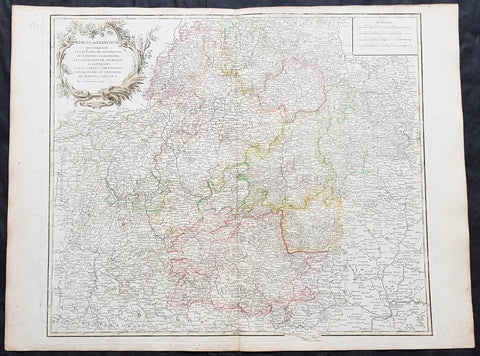 1757 Robert De Vaugondy Large Antique Map of Franconia, Franken Southern Germany