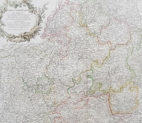 1757 De Vaugondy Large Antique Map Central Germany Wurtzenburg, Bamburg, Bavaria