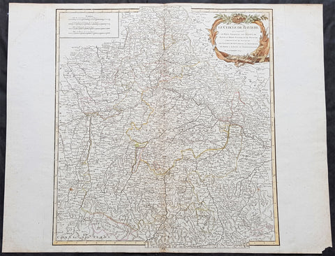 1757 Robert De Vaugondy Large Antique Map of Bavaria & River Danube, Germany
