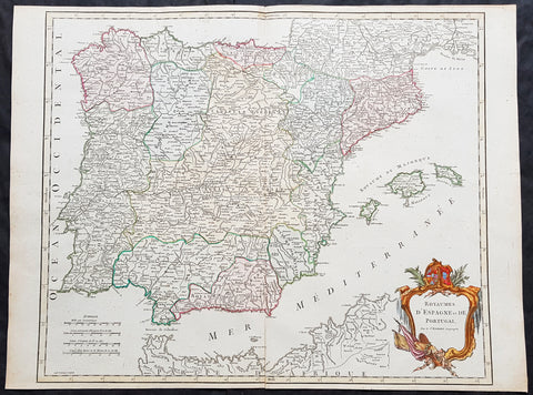 1757 Robert De Vaugondy Large Antique Map Spain, Portugal & The Balearic Islands