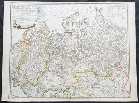 1757 De Vaugondy Large Antique Map of The Russian Empire