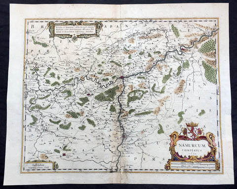1636 Mercator Hondius Large Antique Map of Namur Region of Belgium, Huy & Meuse