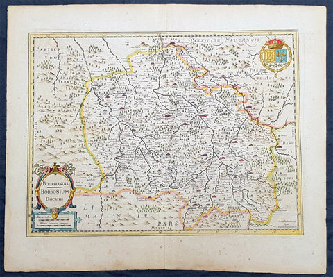 1636 Jan Jansson Antique Map of The Bourbon or Bourbonnais Region Central France