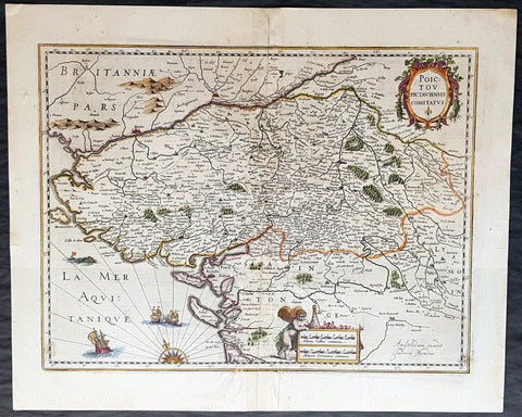 1636 Hondius Old, Antique Map The Poitou Region of SW France, Nantes, Rochelle