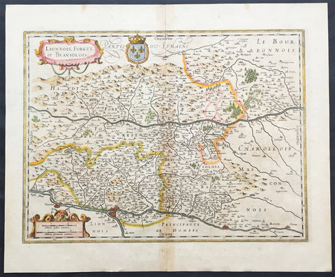 1631 Jansson Old, Antique Map The Rhone Region of France - Lyon