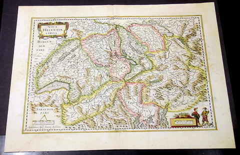 1636 Jansson Large Original Antique Map of Switzerland
