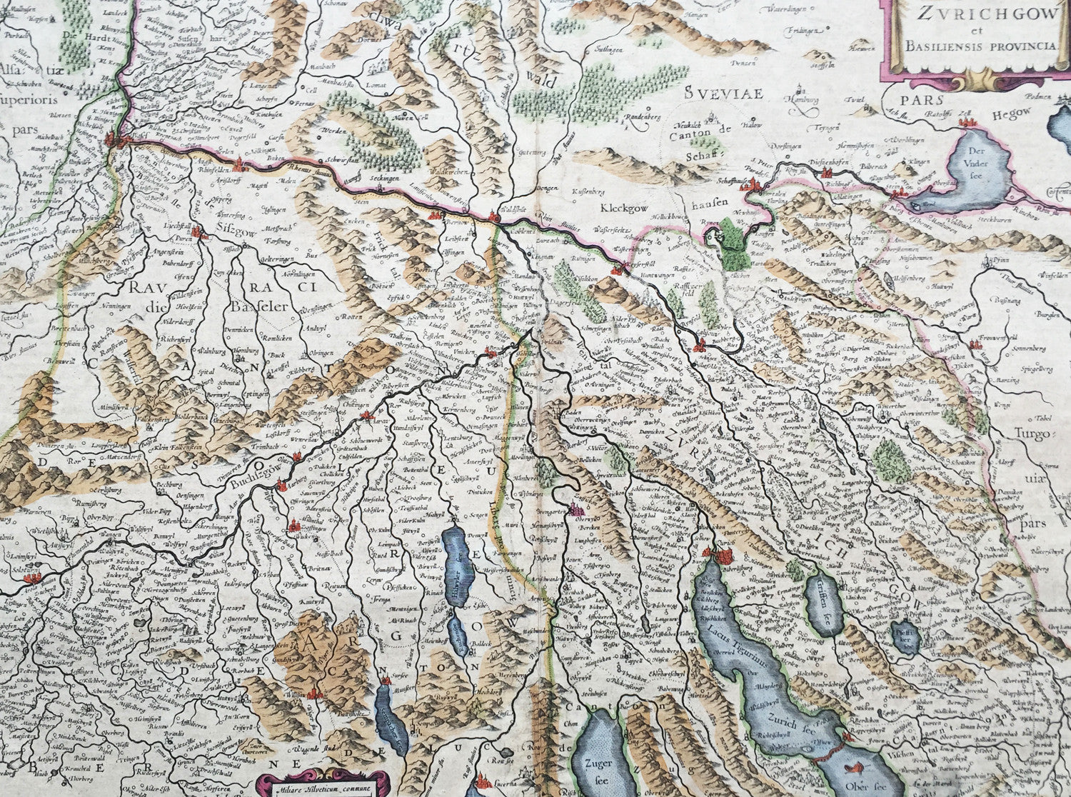 1636 Mercator Hondius Large Old Antique Map Zurich Basel Cantons