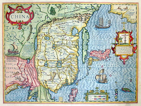 1636 Jan Jansson Antique Map of China, with Korea, Japan & Part of America