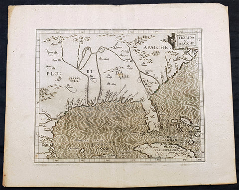 1597 Cornelis Wytfliet Antique Map Early Important Map of United States of America