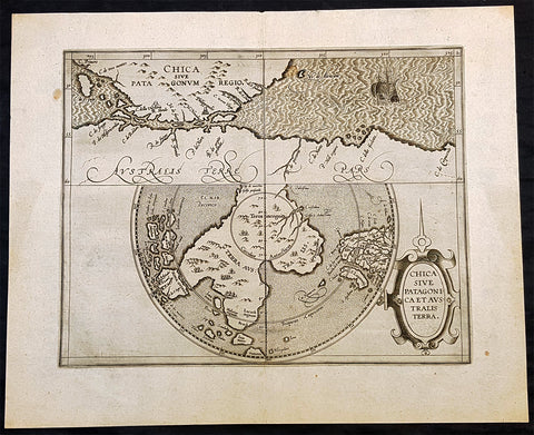1597 Cornelis Wytfliet Antique Map Early Important Map of Australia, South America Terra Australis