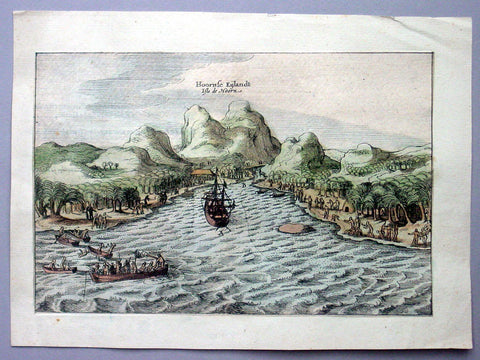 1617 Schouten Antique Print of Unity Bay, South Seas Island of Futuna, Wallis
