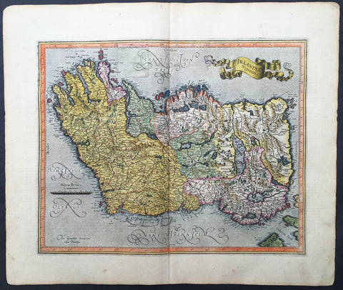 1607 Mercator Hondius Original Antique Map of Ireland - Rare and beautiful