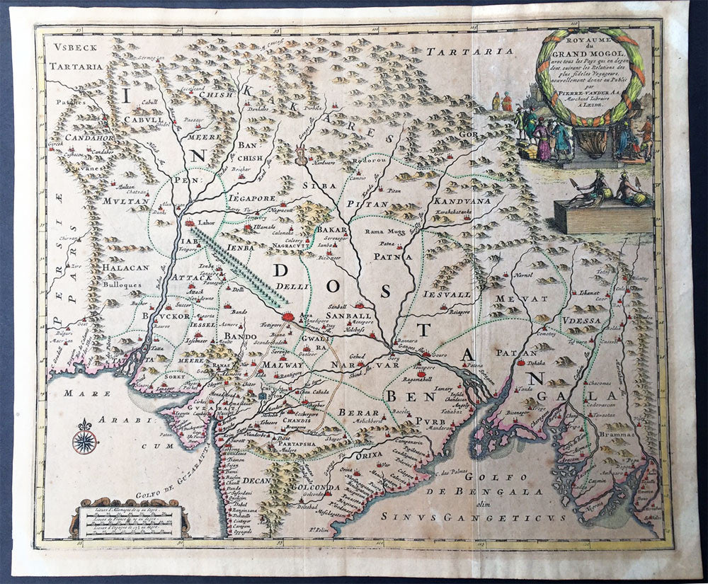 1720 Peter Vander Aa Antique Map Of Northern India Mogul Empire